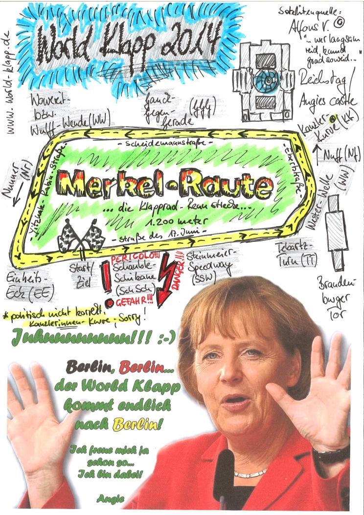 Gefahren wird die klassische Kanzler Kurve – die sogenannte Merkel-Raute vor dem Brandenburger Tor. Start (von Ramsauer-Rampe) – Schäuble-Schikane!!! – Steinmeier-Speedway – Tebartz-Turn – Wester-Welle – Nuff – Kanzler-Kurve – Gauck-Gegengerade – Wowereit-, bzw. Wulff-Wende – Nunner – Einheits-Eck – Ziel