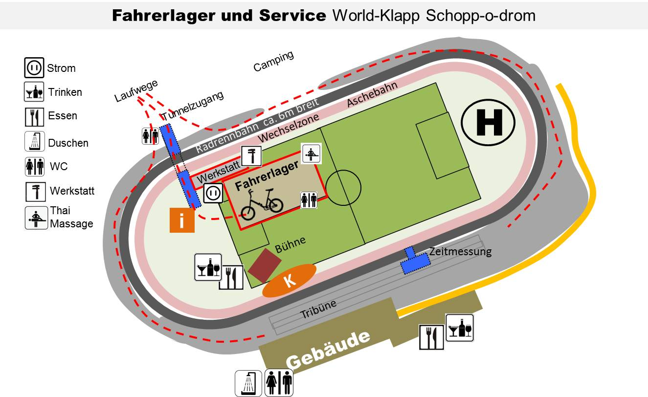 Lageplan Fahrerlager und Service