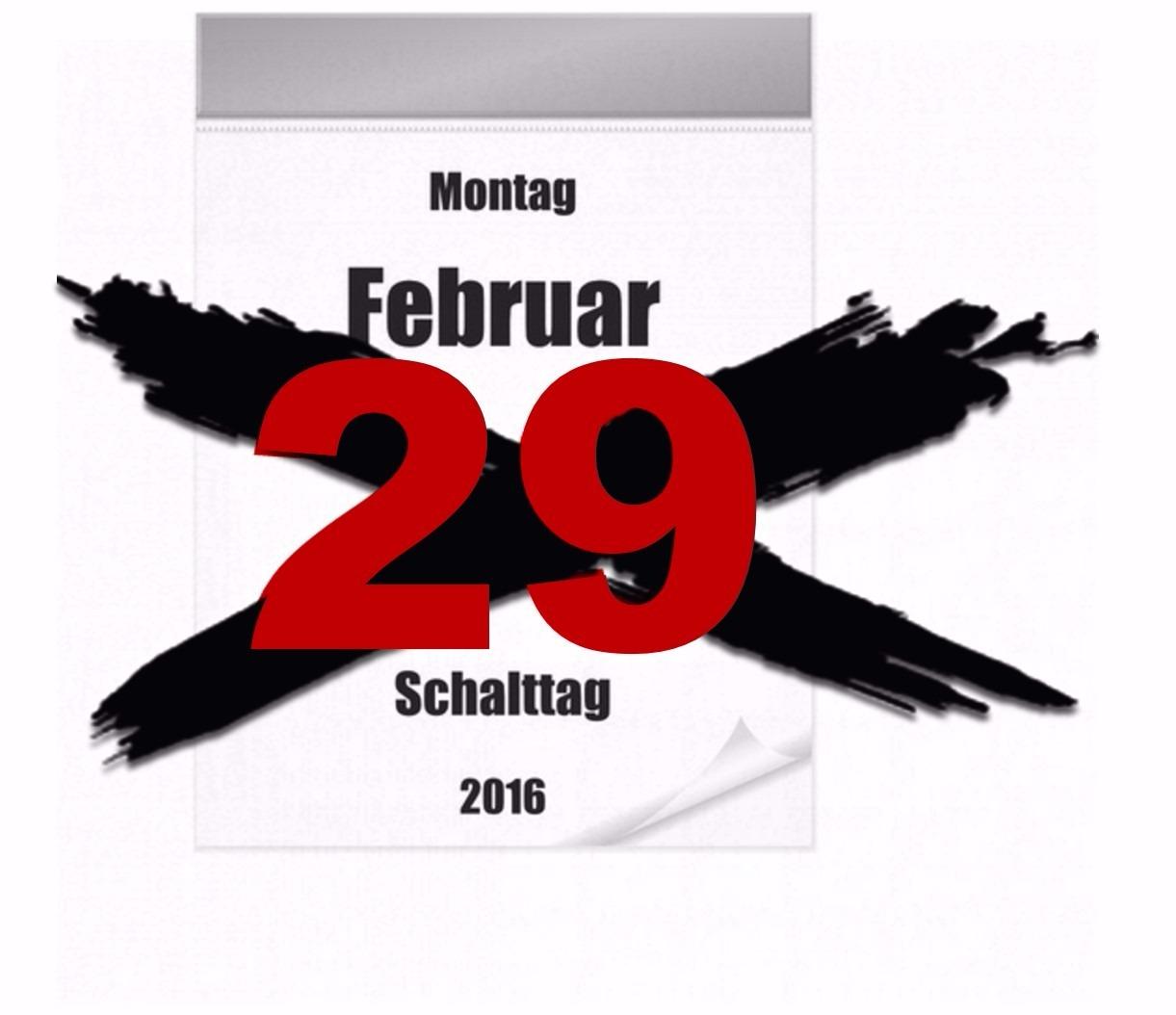 Schalttag 29 Feb 2016